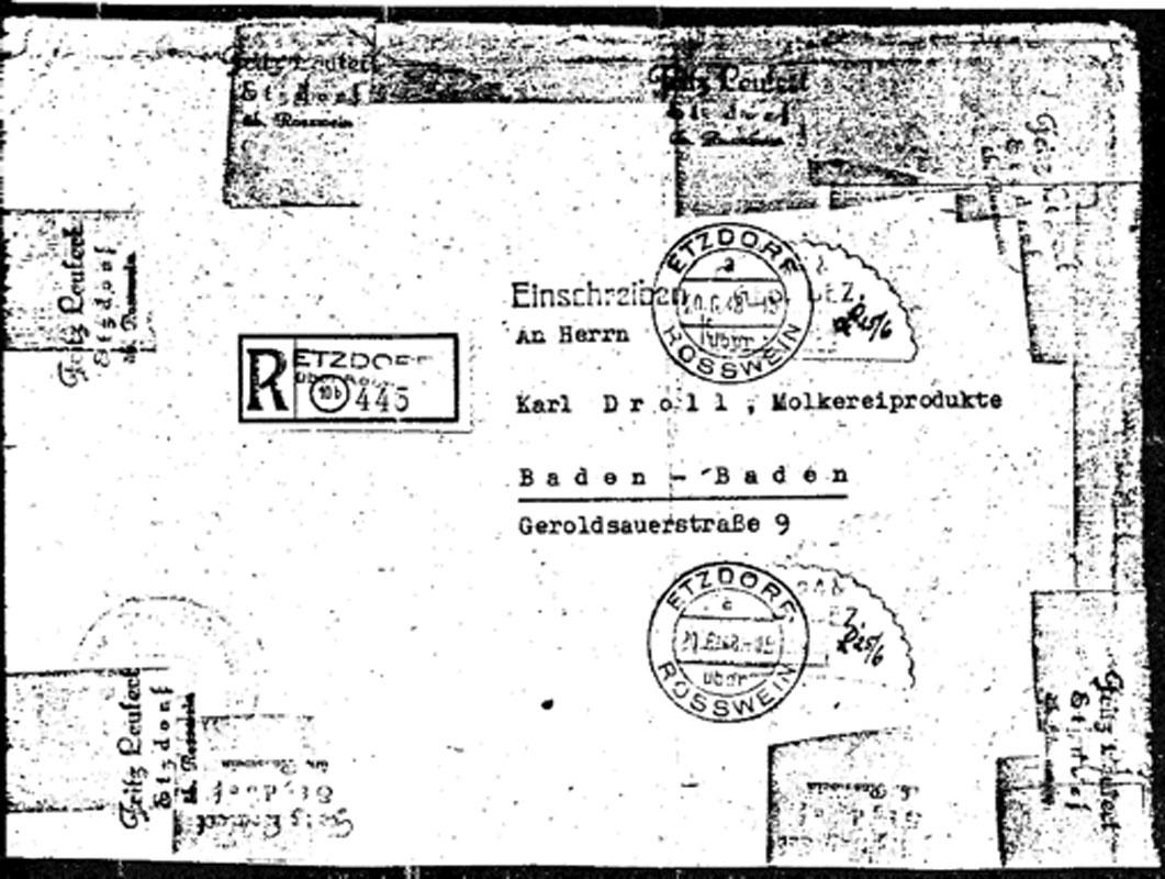 Abb. 3: R-Brief vom 25.6.48 mit Gebührenzettel 24 und 84 Pf